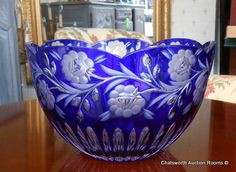 Highest Quality Cobalt Blue Cut to Clear Crystal 9 Wide Bowl Cobalt Glass, Cobalt Blue, Cut Glass, Glass Art, Blue Dishes, Crystal Glassware, Blue Crystals, Glass Design, Colored Glass
