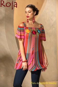 The Roja Collection Fiesta Saltillo Top is so feminine and flattering. The bright saltillo print, the lovely floral embroidery, the open shoulders and the flattering cut is a Roja statement. Mexican Fashion, Mexican Outfit, Mexican Dresses, Mexican Style, Party Outfits For Women, Fiesta Dress, Dress Outfits, Casual Outfits, Boho Fashion