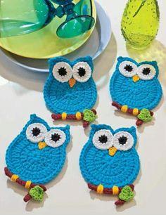 crochet owl These would make Crochet Applique Patterns Free, Crochet Motifs, Crochet Potholders, Crochet Doilies, Crochet Flowers, Cat Applique, Free Pattern, Knitting Patterns, Crochet Owls