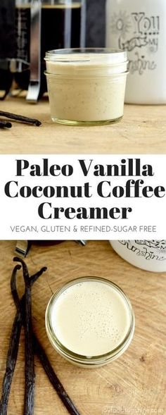 You only need 4 ingredients to make this paleo vanilla coconut coffee creamer! This recipe is EASY and way healthier than store-bought versions! Dairy-free, refined-sugar free, paleo, and vegan! Healthy Coffee Creamer, Coffee Creamer Recipe, Paleo Creamer, Coconut Milk Creamer Recipe, Almond Milk Coffee Creamer, Sugar Free Coffee Creamer, Homemade Coffee Creamer, Non Dairy Creamer, Weight Watcher Desserts