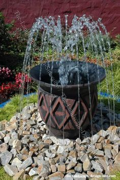 Homemade Pondless Waterfall   Homemade Water Features for center of courtyard   Clay Pot Pondless ...