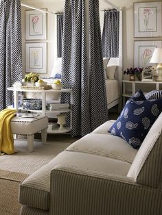 Thinking Navy and the existing sand color in my living room for a change from the brown - I think it will work!