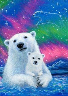 Diamond Painting Polar Bear in the Sky Paint with Diamonds Art Crystal Craft Decor Winter Painting, Winter Art, Painting Art, Teddy Bear Cartoon, Bear Paintings, Baby Animals, Cute Animals, Bear Pictures, Bear Wallpaper