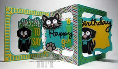 Fancy Label Accordion with Whiskers the Cat & Buster the Dog