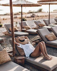 Beach chairs and sun hats - summer feeling