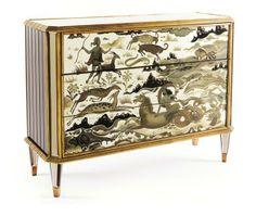 Incredible Art Deco Eglomise. The Diana credenza by Jean de Merry