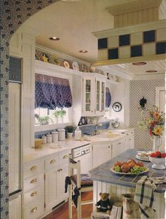 Country kitchen - White & periwinkle blues galley kitchen - Country Style magazine 1999 - remodeled 1920's kitchen