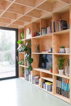Plywood Bookcase, Plywood Walls, Green Plywood, Plywood House, Red Brick Walls, White Walls, Ikea Boxes, Plywood Interior, Charleston Homes