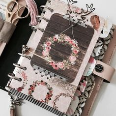 pink and black filofax
