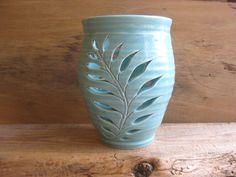 turquoise fern pottery luminary, North Carolina pottery by Dawn Tagawa by TagawaCollection on Etsy