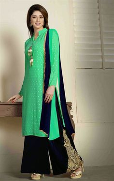 Picture of Wonderful Navy Blue and Sea Green Color Palazo Kameez