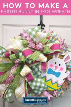 Learn how to make a bunny in an Easter egg wreath for the spring season! This wreath is an adorable, fun project that will fly off your shelves and/or look festive on your front door. Make Your Own Wreath, How To Make Wreaths, Easter Bunny, Easter Eggs, Foam Crafts, Diy Crafts, Easter Videos, Poinsettia Wreath, Wreath Tutorial