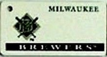 "This is an MLB Milwaukee Brewers Team License Plate Key Chain or Tag. An excellent and affordable gift for an avid MLB fan! The key chain is available with engraving or without engraving. It is a standard key chain made of durable plastic and size is approximately 1.13"" x 2.25"" and 1/16"" thick"