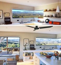 7 Examples Of Corner Windows With Picturesque Views // In this modular home, the corner window in the kitchen perfectly frames the mountains in the distance, making it appear as artwork. Arched Windows, Corner Windows, Steampunk House, Modular Homes, City Living, Minimal Design, Cozy House, Architecture Design, Kitchen Decor