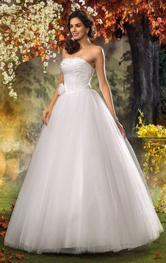 A-line Princess Strapless Sweep/Brush Train Tulle Wedding Dress