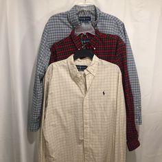 Ralph Lauren Pink Plaid Classic Short Sleeve Linen Dress Shirt Blue Pony NWT