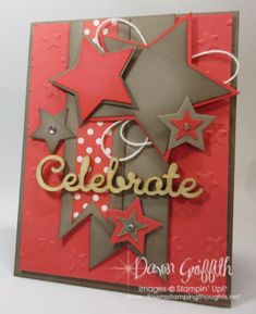 Hi Stampers, Happy Monday friends ! Here is a card I made over the weekend I love Watermelon Wonder and Tip Top Taupe together . I also used the Wink of Stella on the tiny stars and also on the Cele