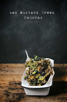red mustard green pakoras by abrowntable, via Flickr