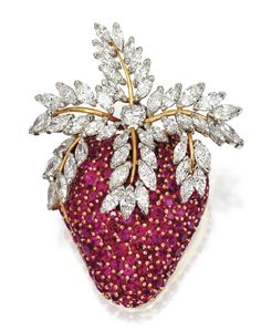 A ruby and diamond strawberry brooch by Jean Schlumberger for Tiffany & Co., France.