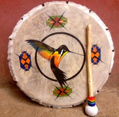 Hummingbird Peruvian Medicine Drum & Drumstick by LivingAltar, $340.00    https://www.etsy.com/listing/122144243/hummingbird-peruvian-medicine-drum?ref=v1_other_2