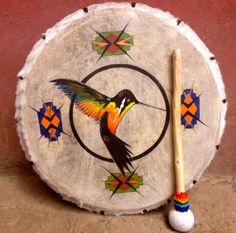 Hummingbird Peruvian Medicine Drum & Drumstick by LivingAltar, $340.00    https://www.etsy.com/listing/122144243/hummingbird-peruvian-medicine-drum?ref=v1_other_2