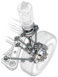 Automotive illustration. Cutaway, ghosted, phantom, and realistic suspension illustrations.