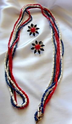 Red White and Blue Triple Strand Necklace and by VJSEJewelsofhope, $15.00