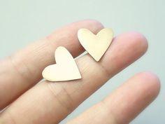 Heart stud earrings - brass heart studs with sterling silver ear posts- illusy. #Etsy.