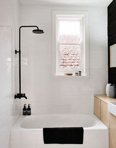 Small bathroom with black accents