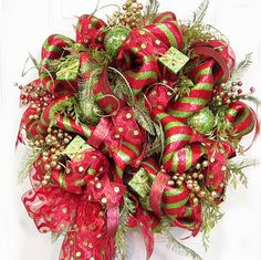 Deco Mesh Outdoor Christmas Wreath Wreaths Lots by LadybugWreaths, $289.97