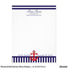 Nautical Red Anchor Navy Stripes Letterhead
