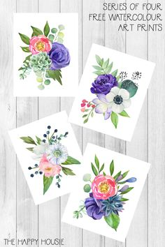 Series of four watercolour floral art printables the happy housie get gorge Watercolor Flowers, Watercolor Art, Home And Deco, Botanical Art, Botanical Drawings, Printable Wall Art, Printable Stickers, Spring Flowers, Art For Kids