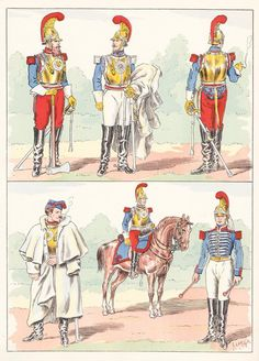 French; Carabiniers, 1854 from Hector Large's Le Costume Militaire Vol III