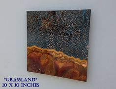 Copper Art Abstract Patina Painting Grassland 10 x by Copperhead, $65.00
