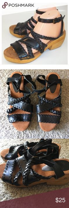 Black braided leather wooden heel sandal Black braided leather wooden heel size 6 never worn ankle straps Ecote Shoes Sandals