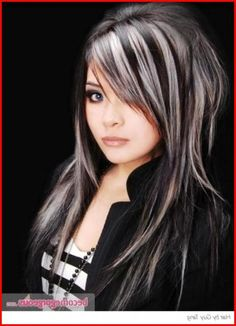 White and Black Hair Color Ideas, White and black hair color ideas are more than on trend right now. This mixture is no longer considered 'granny hair' though the style has been a. Ombre Hair Color, Hair Color For Black Hair, Dark Hair, Hair Colour, Grey Hair, Brown Hair, Black Hair With Blonde Highlights, Black And Blonde, White Highlights