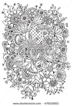 Coloring Book Page For Adult And Older Children Black White