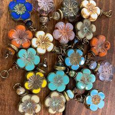 12 Sunflower Yellow Picasso Three Petal Glass Flower Beads 12MM