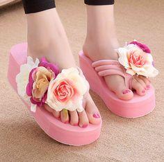 9be222beb260 2017 summer new flower design women platform wedge sandals flip-flops fashion  female sand