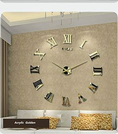 GreeGarden Luxury Time Letters Roman Numerals Large Size DIY Wall Clock Quartz Mirrors Surface Removable Home Decoration Living Room D¨¦co (Gold) Wall Clock Sticker, Big Wall Clocks, 3d Wall Clock, Wall Clock Wooden, Wall Clock Design, Glam Living Room, Living Room Decor, Wall Clock Copper, Minimalist Wall Clocks