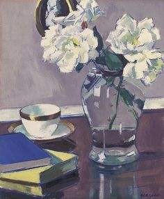 Francis Campbell Boileau Cadell    White Roses in a Glass Vase    Early 20th century
