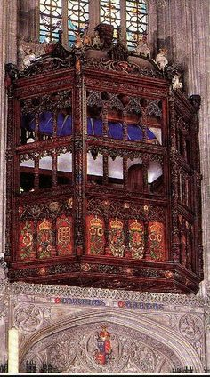 Catherine Of Aragons balcony. St. Georges Chapel. - St George's Chapel is the place of worship at Windsor Castle in England, United Kingdom. It is both a royal peculiar and the chapel of the Order of the Garter.
