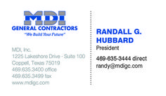 MDI General Contractors Business Card created by Marni G Designs #MarniGDesigns #BusinessCard #BC #MDIGeneralContractors