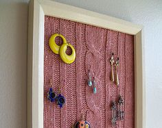 Jewelry Organizer, Earring Holder, Upcycled Wooden Frame with Cable Knit Sweater, Earring Display, Decorative Picture Frame