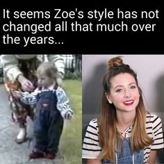 The ironic part is that Zoe was wearing the outfit on the right during the video in which she showed a clip of herself wearing the outfit on the left. Overalls and a striped shirt never go out of style, I guess.