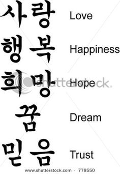 Korean Characters - have to learn since I have Korean friends and family. :) can't wait to use my Korean Rosetta stone that I got.