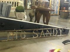 """Vintage Iron Big Sandy Sign On Sale   80"""" Wide x 10"""" High   Was $450 Sale Price $270  Dealer #710  Find it all at  LOST . .Again Antiques and Decor 148 Riveredge Dallas, TX 75207  www.l"""