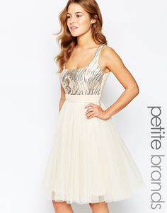 Little Mistress Petite Sequin Bodice Tulle Prom Dress