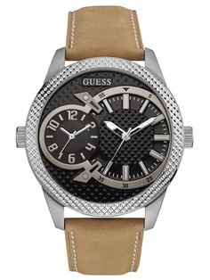 Tan and Silver-Tone Dual-Time Watch at Guess Cool Watches, Rolex Watches, Watches For Men, Guess Watches, Seiko Diver, Tan Leather, Omega Watch, Fashion Accessories, Bling
