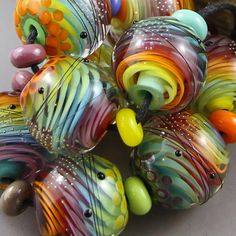 Magma Beads Colorfull (sic) Twist Handmade Lampwork Beads